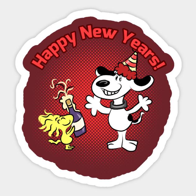 Snoopys Happy New Year Peanuts Sticker Teepublic