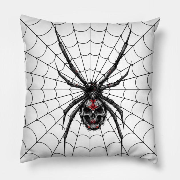 Black Widow Spider With Skull Body In Web Black Widow Spider Pillow Teepublic
