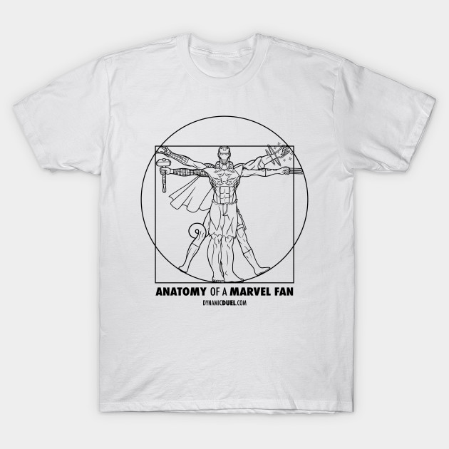 Anatomy of a Marvel Fan (Male) Black Line Art - Marvel - T-Shirt ...