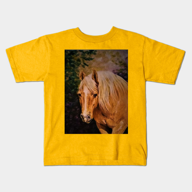Creative Horse Lovers Birthday Gifts Ideas Palamino Portrait Artist Rendering Kids T Shirt