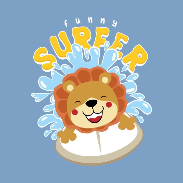 Cartoon Lion Surfer Wave