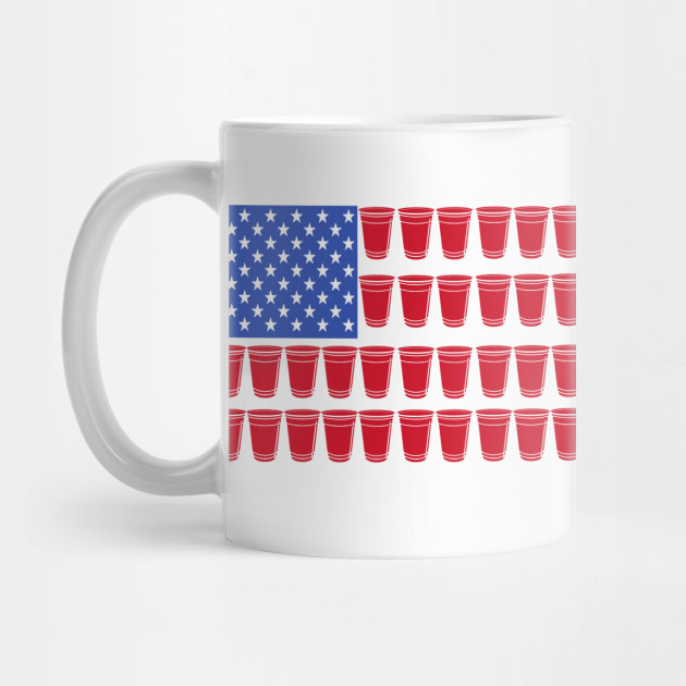 Funny 4th of July Shirt| Beer Pong Drinking T-Shirt| American Flag| Red Solo Cups