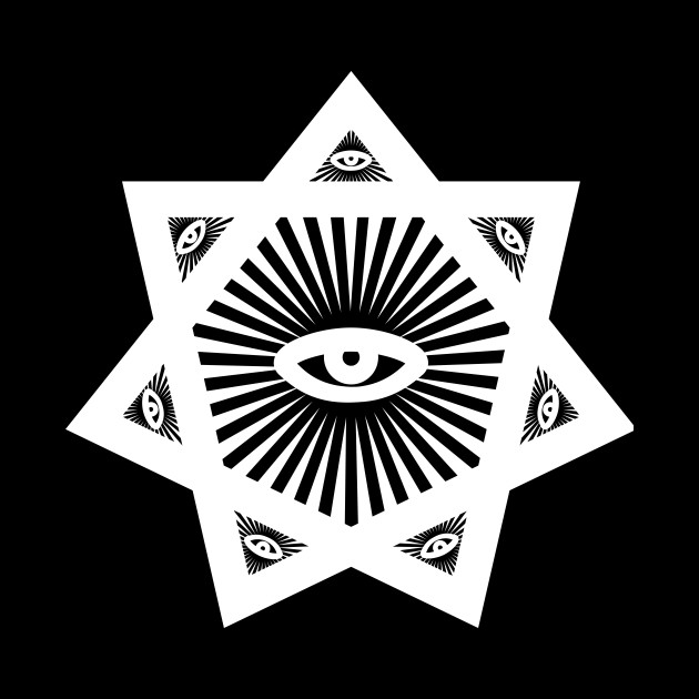 Heptagram 7 Sided Star With All Seeing Eye Scared Geometry