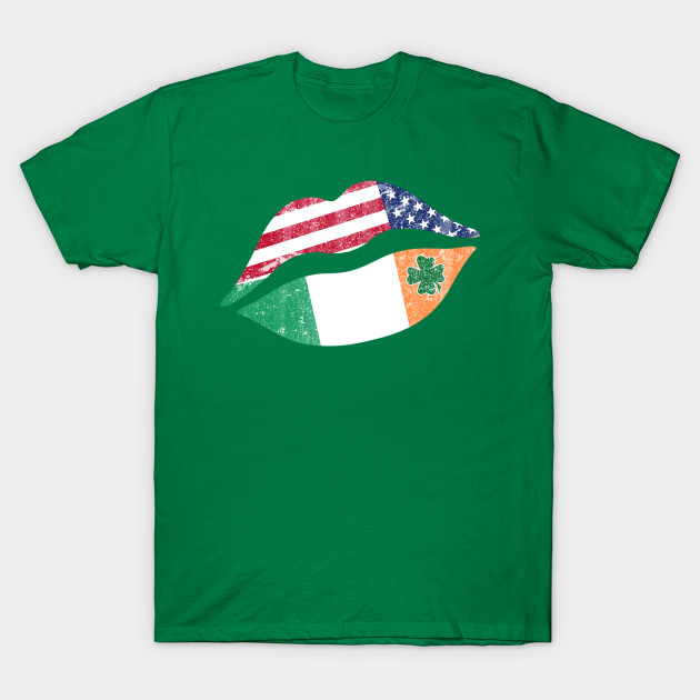 St Patricks Day T Shirt Gift Idea Kiss Lips With Shamrock Cover