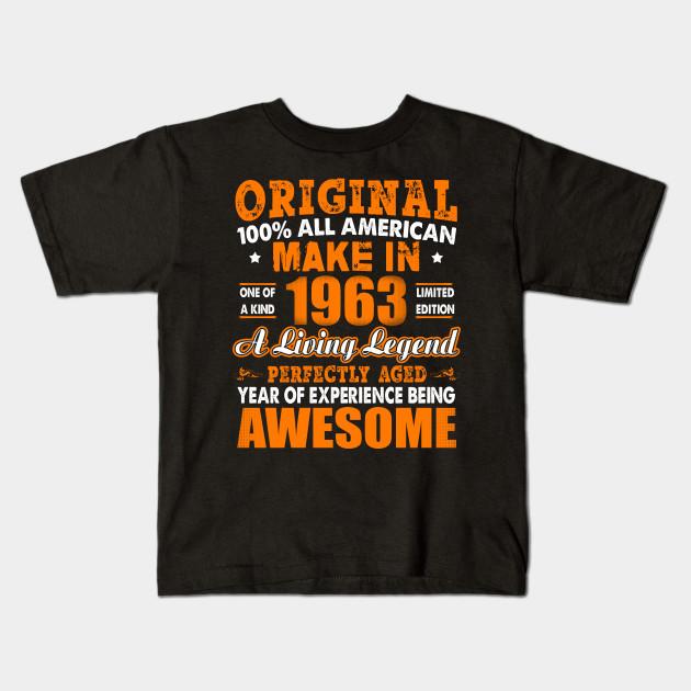 Made In 1963 55th Birthday Years Original Vintage Kids T Shirt