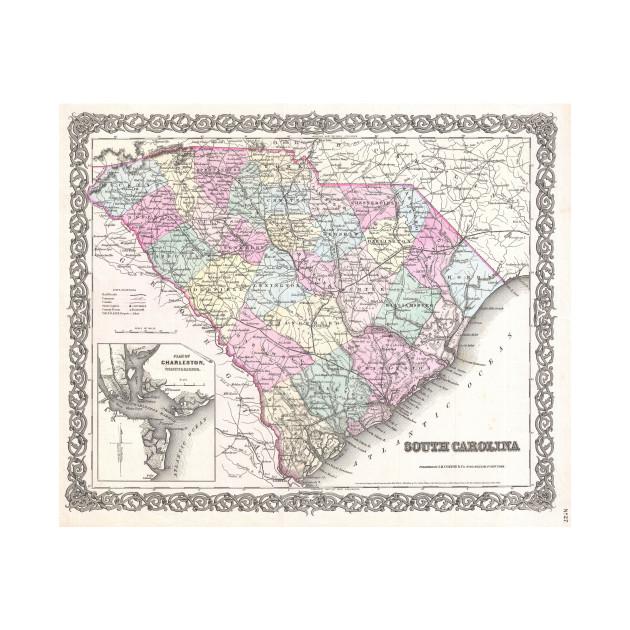 Vintage South Carolina Map.Vintage Map Of South Carolina 1855 South Carolina Map T Shirt