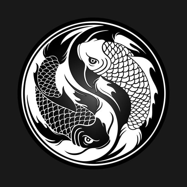 White and black yin yang koi fish yin yang t shirt for Black white koi