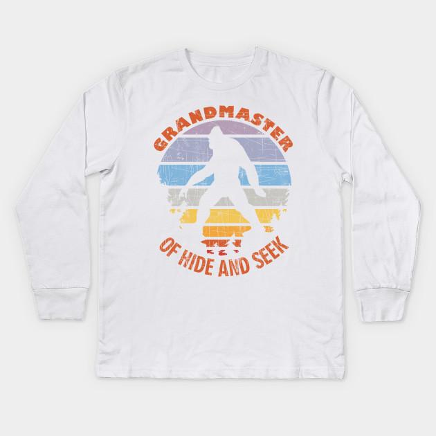1db3bd38 Bigfoot Undefeated Hide & Seek Grandmaster Funny Design Kids Long Sleeve T- Shirt