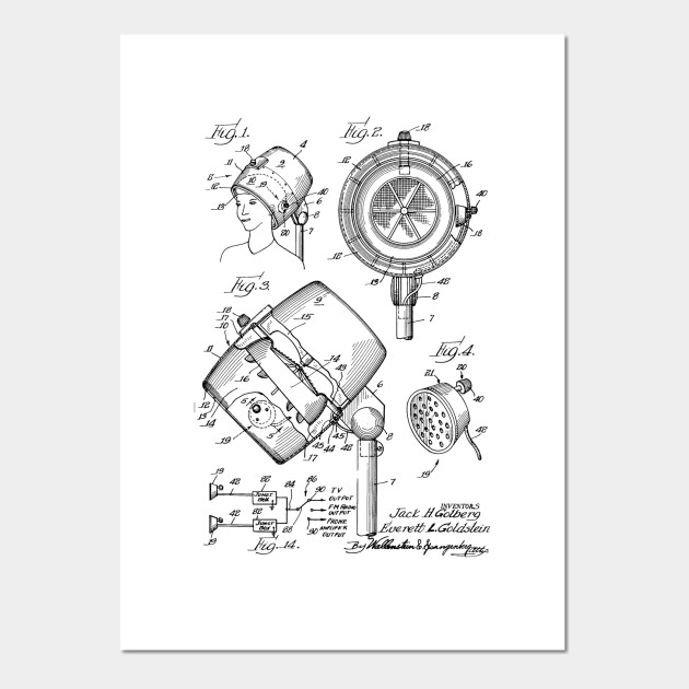 Hair Dryer Sound System Vintage Patent Hand Drawing Hairdryer Posters And Art Prints Teepublic