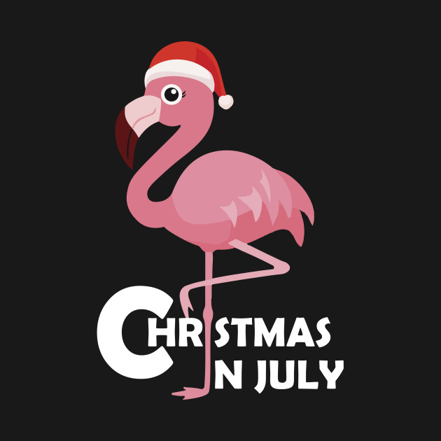 Christmas In July Party Clipart.Flamingo Christmas In July Funny Party X Mas T Shirt