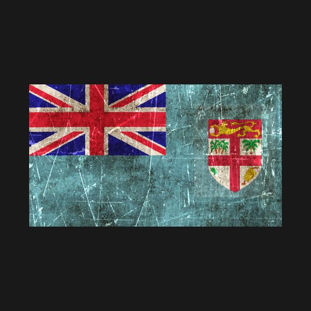 Vintage Aged And Scratched Fiji Flag
