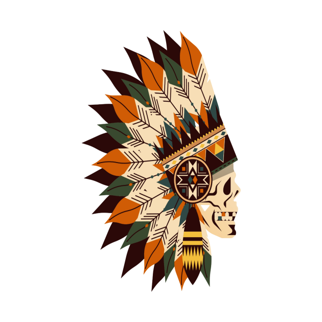 American Motorcycle Skull Native Indian Eagle Chief Vintage T-Shirt