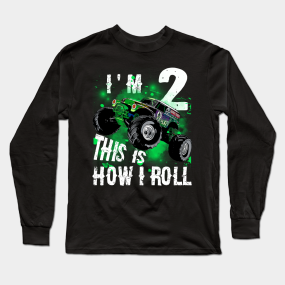 Monster Truck Tee IM 2 READY TO CRUSH Shirt 2nd Birthday Long Sleeve T