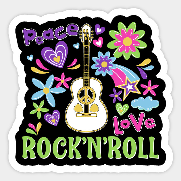 Zip Up Hoodie Peace Love Rock and Roll Guitar Music Peace Sign