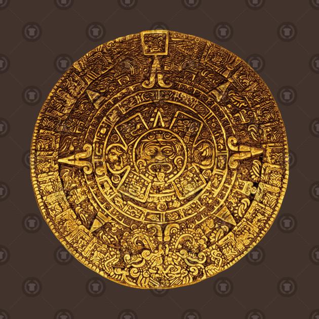 Golden Mayan Calendar Amulet