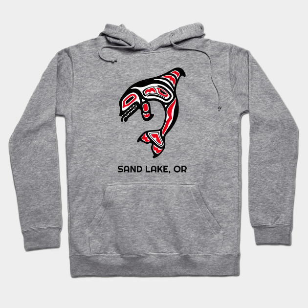 Sand Lake, Oregon Red Orca Killer Whales Native American Indian Tribal Gift Hoodie