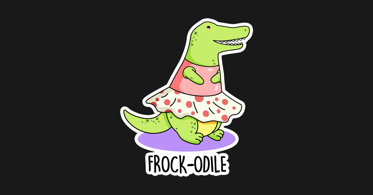 Frockodile Cute Girl Crocodile Pun