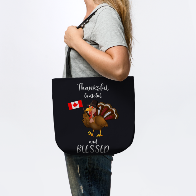 Funny Blessed Canadian Thanksgiving Day Flag Graphic Shirt Cute Turkey Canada