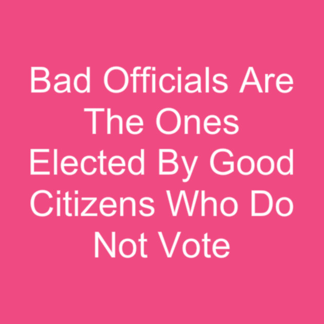 Bad Officials Are The Ones Elected By Good Citizens Who Do Not Vote
