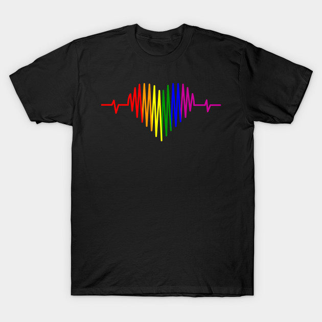 LGBT Heartbeat Rainbow Gift for Lesbian Gay Pride T-Shirt