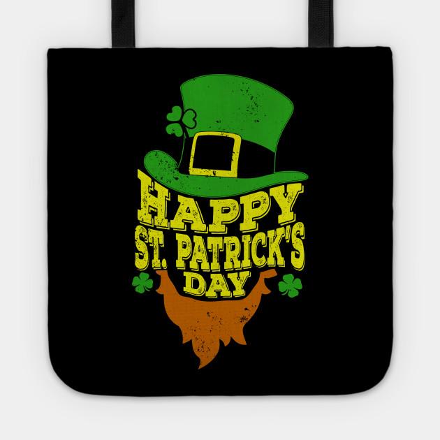 Happy St Patricks Day T-Shirt Shamrock Beard irish Gift Tee
