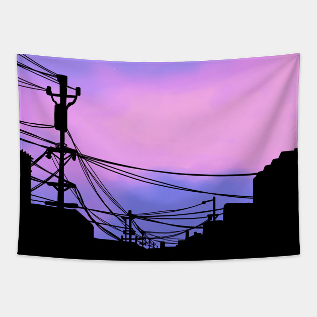 Aesthetic Sunset Japanese Lo Fi Aesthetic Vaporwave Tapestry Teepublic