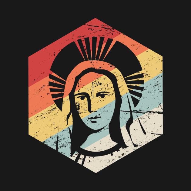 b33080c4 Retro Virgin Mary Icon | Catholic Design - Catholic - T-Shirt ...