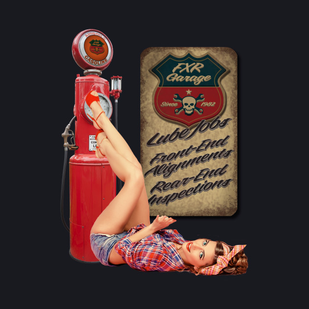 FXR Garage Gas Pump Pinup-girl