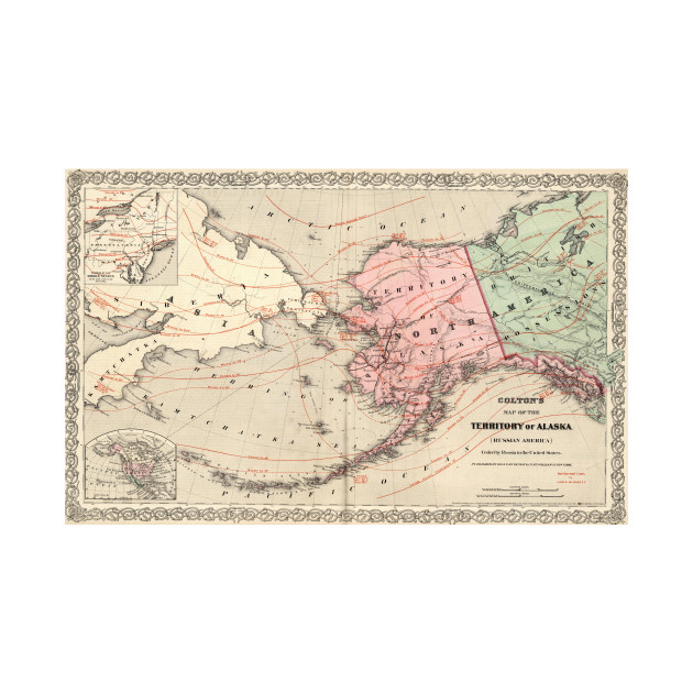 Vintage Map of Alaska and Russia (1869) on map of eastern russia, eastern siberia russia, kamchatka siberia russia, map of siberia and alaska,