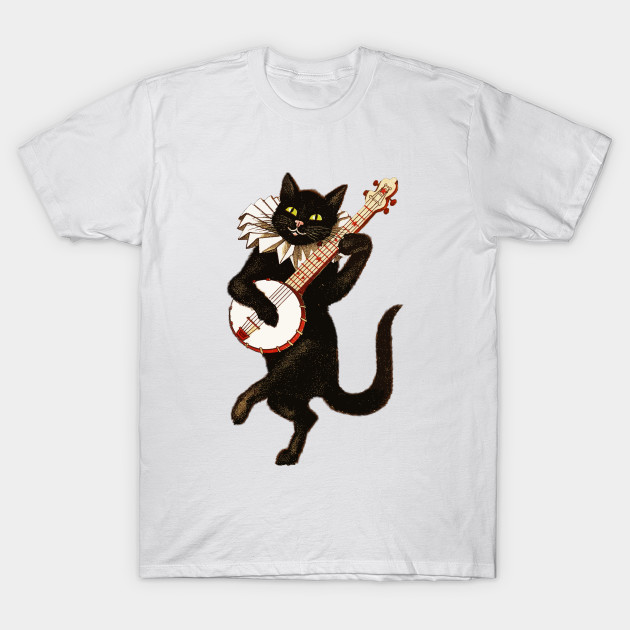 Cat Playing Banjo T-Shirt-TOZ