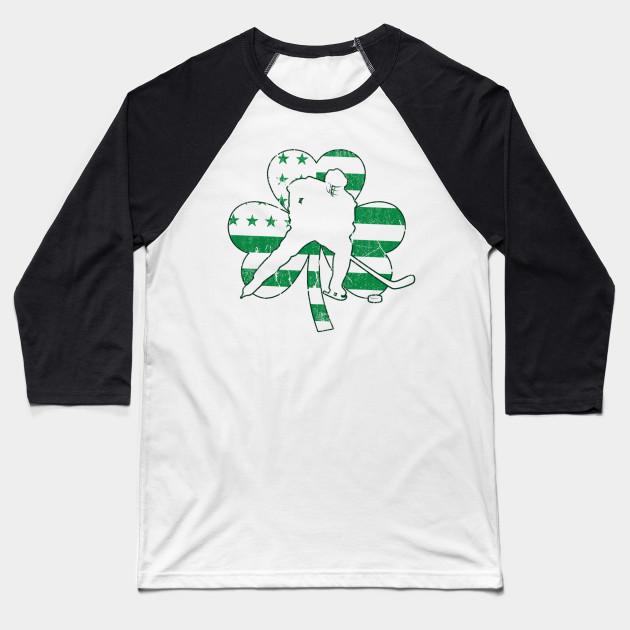 5435754344 Irish American Hockey Flag Hockey St Patrick s Gift Baseball T-Shirt