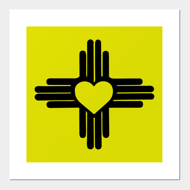 Zia With Heart Symbol New Mexico State Flag Zia Posters And