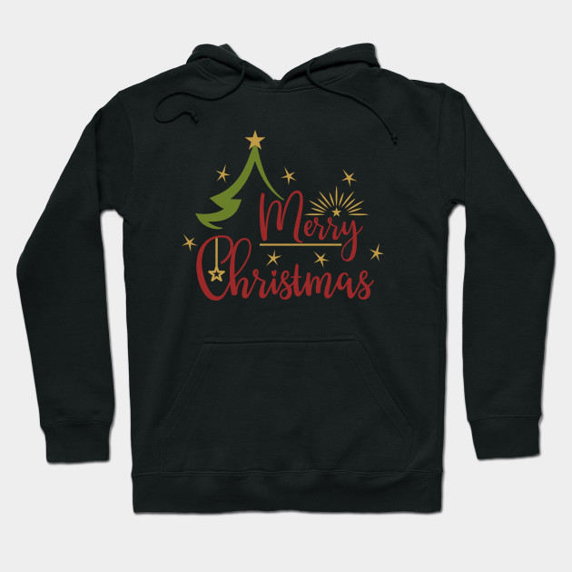 Christmas Series: Merry Christmas tree with stars Hoodie