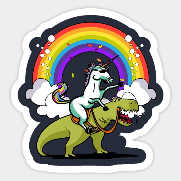 c0d7cb9b39b Unicorn Riding T-Rex Party Dinosaur Colorful Rainbow - Unicorn ...