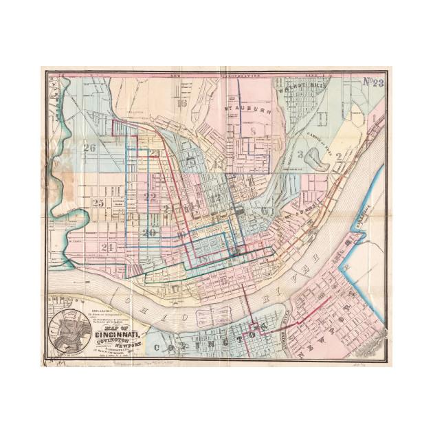 Vintage Map of Cincinnati OH (1868) - Cincinnati Map - T-Shirt ... on