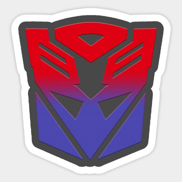 Autobot Decepticon Symbol Fusion Transformers Sticker Teepublic