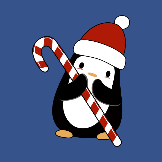 Kawaii penguin with her candy cane