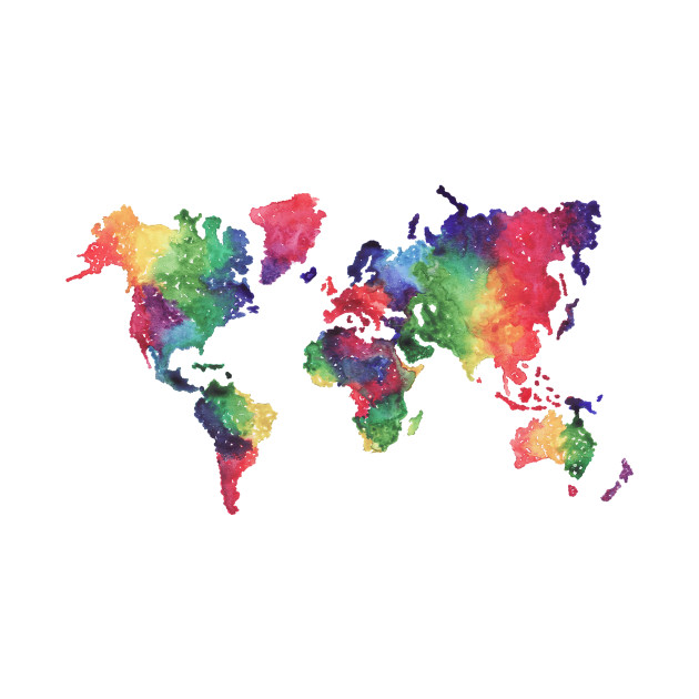 Rainbow world map. Colorful abstract geometrical background with ...
