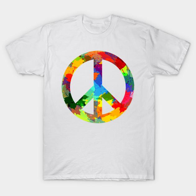 Peace Symbol Bright Colors Hippie Style Peace Symbol T Shirt