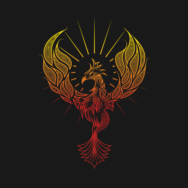 tribal phoenix bird rising through fire phoenix on fire t shirt