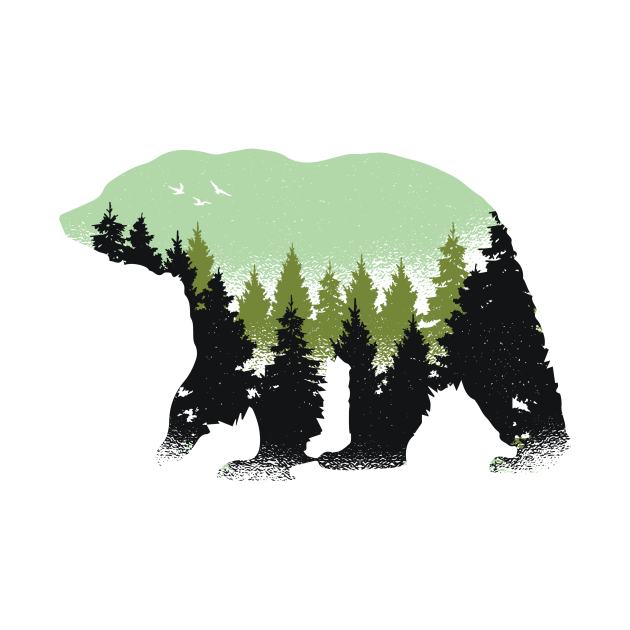 Wild Animal Nature Art Bear With Green Trees