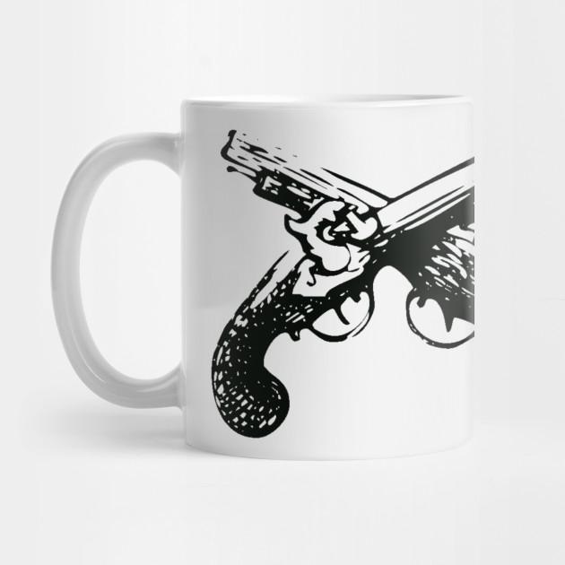 Crossed Flintlock Pistols - Crossed Guns USA Vintage Rustic by ballhard