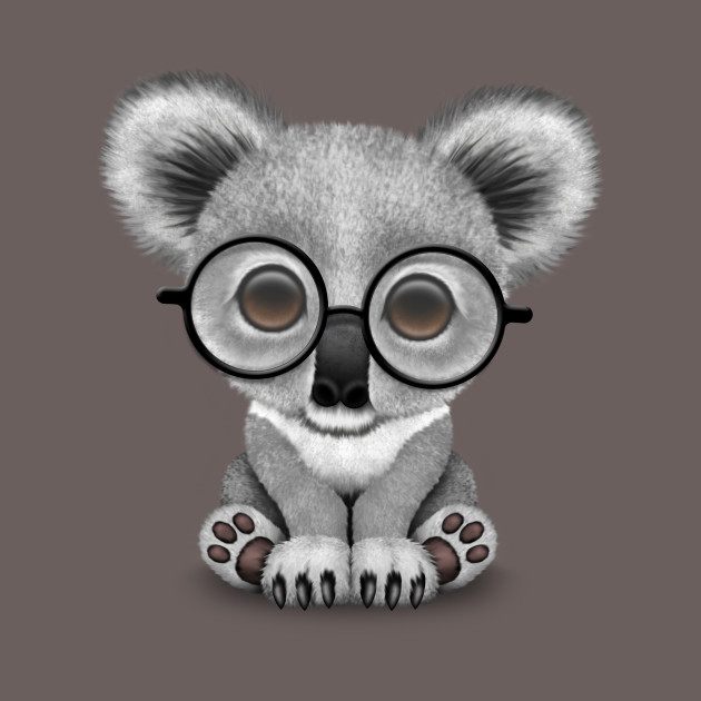 e984e6d58eb Cute Baby Koala Bear Cub Wearing Glasses - Cute Koala - T-Shirt ...