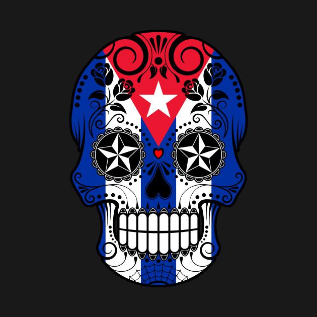 Cuban Flag Sugar Skull with Roses - Cuba - T-Shirt | TeePublic
