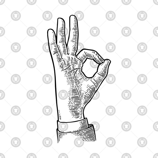OKAY: Hand Symbol Sign (Black)