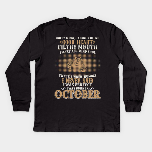 Funny October Shirts For Men Libra Birthday Kids Long Sleeve T Shirt
