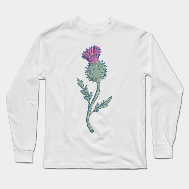 1ff6d0661 Scottish Thistle Drawing - Scottish Thistle Drawing - Long Sleeve T ...