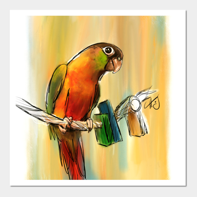 Green Cheek Conure Painting - Parrot - Posters and Art   TeePublic