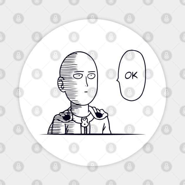 One Punch Man Saitama Ok One Punch Man Magnet Teepublic