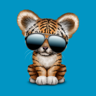 Cute Baby Tiger Wearing Sunglasses T-Shirt